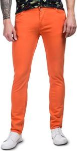 Pomarańczowe spodnie Giacomo Conti z tkaniny w stylu casual