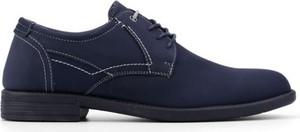 Granatowe półbuty Yourshoes ze skóry sznurowane