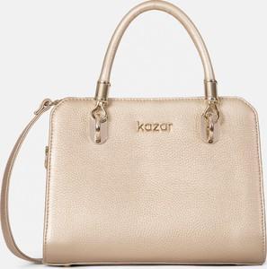 Złota torebka Kazar średnia do ręki ze skóry
