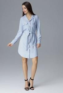 Niebieska sukienka Figl koszulowa w stylu casual