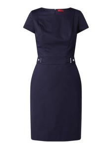 Granatowa sukienka Hugo Boss z krótkim rękawem z bawełny z okrągłym dekoltem