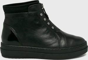 Czarne botki Tamaris ze skóry na platformie w stylu casual