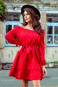 Czerwona sukienka NUMOCO z długim rękawem hiszpanka w stylu casual
