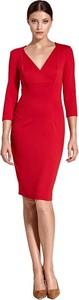 Czerwona sukienka Colett z długim rękawem z dekoltem w kształcie litery v kopertowa