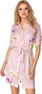Sukienka Ptakmoda.com z kołnierzykiem z długim rękawem
