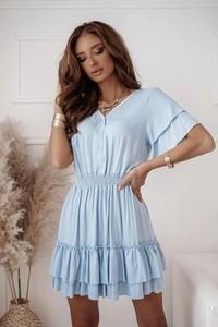 Niebieska sukienka Shopaholics Dream z dekoltem w kształcie litery v