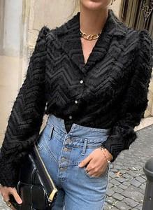 Czarna bluzka Sandbella z długim rękawem z dekoltem w kształcie litery v