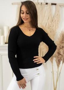 Czarna bluzka Fason z długim rękawem w stylu casual