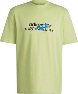 Zielony t-shirt Adidas z krótkim rękawem z bawełny