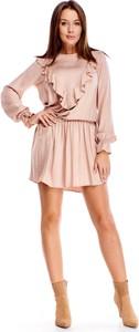 Sukienka Ptakmoda.com z okrągłym dekoltem mini z długim rękawem