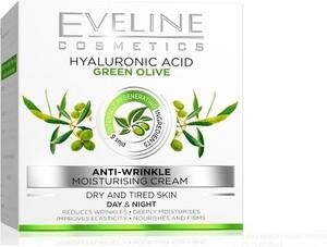 Eveline, kwas hialuronowy + zielona oliwka, krem przeciwzmarszczkowy na dzień i na noc, 50 ml