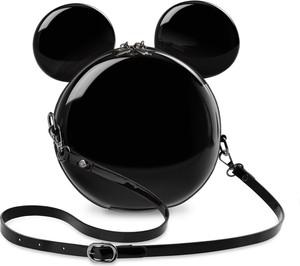 world-style.pl Unikatowa lakierowana listonoszka w kształcie myszki miki sztywna okrągła torebka damska kuferek z uszami 3d - czarny