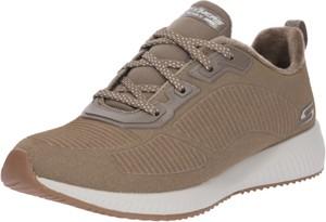 Brązowe buty sportowe Skechers sznurowane w stylu casual na platformie