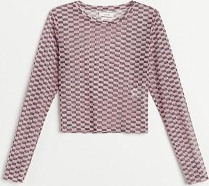 Różowa bluzka Reserved z okrągłym dekoltem z długim rękawem w stylu casual