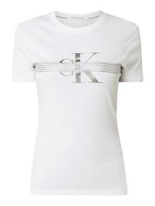Bluzka Calvin Klein z bawełny z okrągłym dekoltem z krótkim rękawem