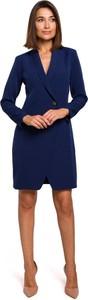 Niebieska sukienka Merg z dekoltem w kształcie litery v mini