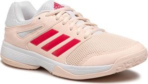 Różowe buty sportowe Adidas ze skóry ekologicznej