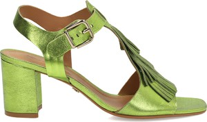 Zielone sandały Kazar na średnim obcasie na obcasie ze skóry