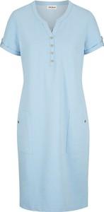 Niebieska sukienka bonprix z dekoltem w kształcie litery v w stylu casual mini