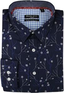 Granatowa koszula Brave Soul z długim rękawem z tkaniny