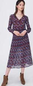 Sukienka Sinsay midi z długim rękawem z szyfonu