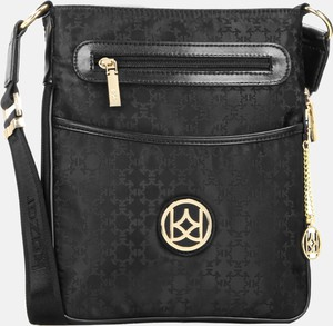 Czarna torebka Kazar w stylu glamour matowa z breloczkiem