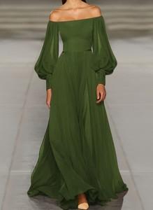 Zielona sukienka Cikelly maxi z długim rękawem hiszpanka
