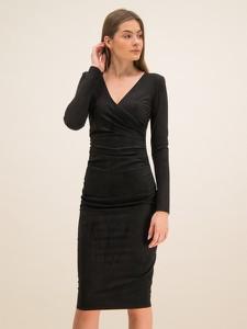 Sukienka Guess prosta z długim rękawem z dekoltem w kształcie litery v