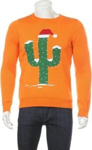 Pomarańczowy sweter topman z nadrukiem w młodzieżowym stylu z okrągłym dekoltem