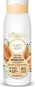 Bielenda, Beauty Milky, kremowe mleczko migdałowe z prebiotykiem do kąpieli i pod prysznic, regeneruje, 400 ml