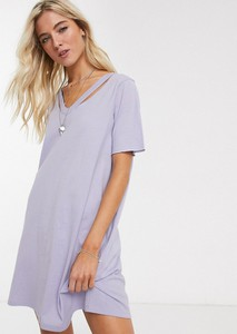 Fioletowa sukienka Asos oversize z krótkim rękawem mini