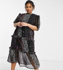Sukienka Violet Romance Curve z długim rękawem maxi