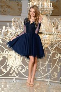 Sukienka Bicotone z długim rękawem mini z dekoltem w kształcie litery v