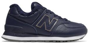 Granatowe buty sportowe New Balance z płaską podeszwą ze skóry sznurowane