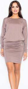 Brązowa sukienka Figl mini ołówkowa