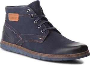 Niebieskie buty zimowe Lasocki For Men sznurowane w stylu casual z nubuku