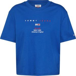 Niebieska bluzka Tommy Jeans z okrągłym dekoltem z krótkim rękawem z dżerseju
