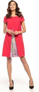 Sukienka Tessita midi z okrągłym dekoltem z tkaniny
