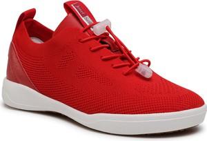 Czerwone buty sportowe Josef Seibel sznurowane z płaską podeszwą ze skóry