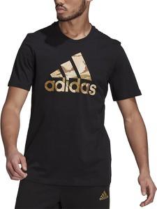 Czarny t-shirt Adidas z krótkim rękawem z bawełny