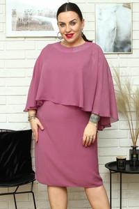 Różowa sukienka KARKO mini dla puszystych z tkaniny