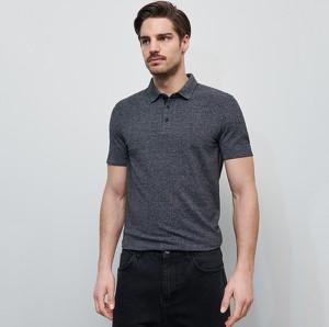 Granatowa koszulka polo Reserved z dzianiny z krótkim rękawem