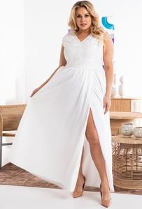 Sukienka KARKO z krótkim rękawem maxi dla puszystych