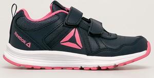 Granatowe buty sportowe dziecięce Reebok na rzepy ze skóry