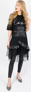 Czarna sukienka Olika z tiulu z krótkim rękawem