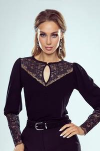 Czarna bluzka eldar z długim rękawem z okrągłym dekoltem