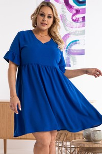Niebieska sukienka KARKO w stylu casual z dekoltem w kształcie litery v