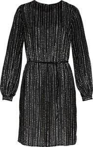 Czarna sukienka bonprix bpc selection koszulowa z okrągłym dekoltem midi