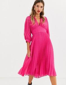 Różowa sukienka Asos Design z dekoltem w kształcie litery v
