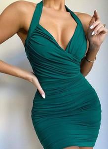 Zielona sukienka Cikelly dopasowana bez rękawów mini
